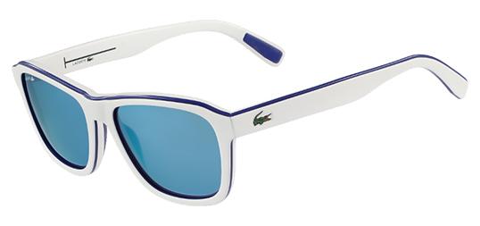 2c56e611662 Lacoste Men s White Soft Square Sunglasses w  Blue Mirror Lens ...