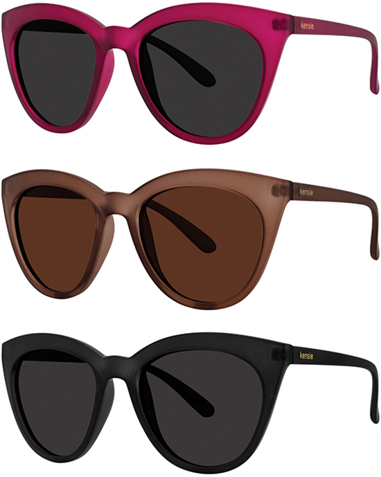 Kensie Coco Polarized Women/'s Rounded Cat Eye Sunglasses