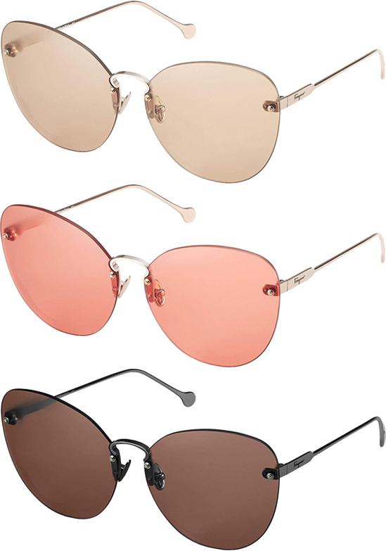 Salvatore Ferragamo Fiore Women S Rimless Oversize Sunglasses Sf178s Ebay