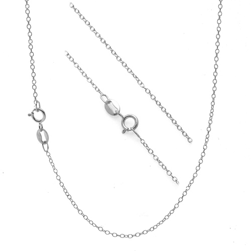 .925 Sterling Silver 1mm Thin Cable Chain Necklace - 14